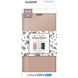 ELECOM エレコム iPhone 12 いよいよ人気ブランド mini 5.4インチ対応 レザーケース 手帳型 PMA20APLFUJPNL 薄型 PM-A20APLFUJPNL UltraSlim 磁石付き スモーキーピンク Flowers アイテム勢ぞろい