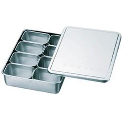 スギコ産業 18-8検食用容器 田型日付入 8個入 285×221×63 KS901 KS901