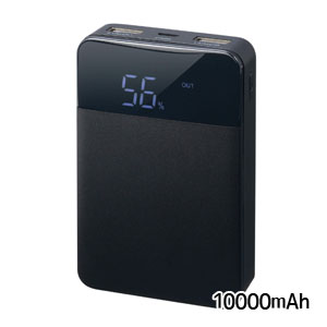【グリーンハウス GreenHouse】モバイルバッテリー10000mAh ブラック GH-BTG100-BK
