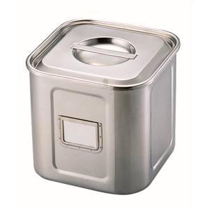 【三宝産業】18-8名札付き深型角キッチンポット (手付) 24cm AKK07024