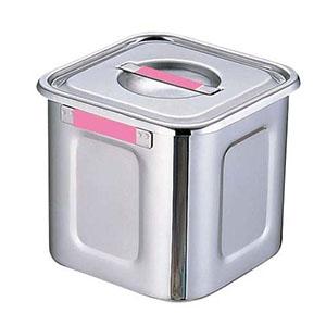 【三宝産業】18-8カラープレート付角キッチンポット 24cm ピンク AKK7717