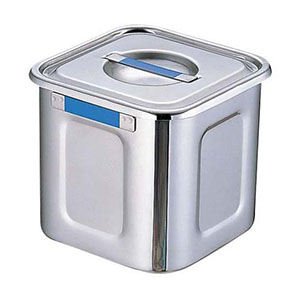【三宝産業】18-8カラープレート付角キッチンポット 24cm ブルー AKK7718