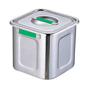 【三宝産業】18-8カラープレート付角キッチンポット 24cm グリーン AKK7720