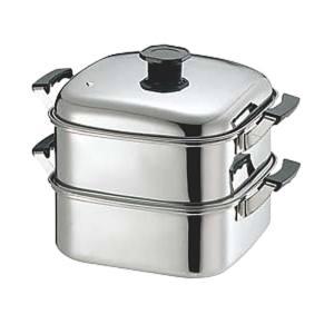 【竹越工業】(T)18-8角型蒸器 24cm 3段