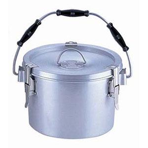 【オオイ金属】シルバーアルマイト丸型二重クリップ付食缶 238 (8L) 中蓋付 ASYA103