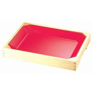 【ヤマコー】メラミン惣菜盆(木枠付) 朱 ASU0201