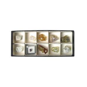 【ケニス KENIS】蛍光鉱物標本 長波10種 1-147-385
