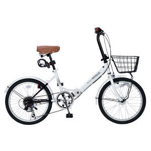 送料無料!!【マイパラス MYPALLAS】20インチ 折り畳み自転車 6段変速 ホワイト M-204【メーカー直送・代引不可】【smtb-u】