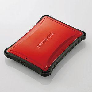 【エレコム ELECOM】ZEROSHOCK ポータブルハードディスク (HDD) 1TB USB3.0対応 耐衝撃 レッド ELP-ZS010URD
