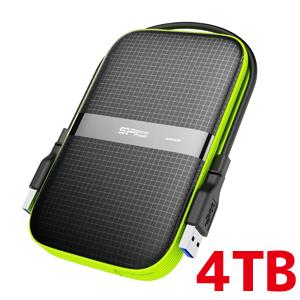 【シリコンパワー Silicon Power】2.5インチ ポータブルHDD 4TB USB3.0対応 IPX4 防水 耐衝撃 キズに強い 3年保証 SP040TBPHDA60S3K