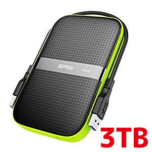 【シリコンパワー Silicon Power】2.5インチ ポータブルHDD 3TB USB3.0対応 IPX4 防水 耐衝撃 キズに強い 3年保証 SP030TBPHDA60S3K