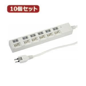 【ヤザワコーポレーション YAZAWA】【10個セット】 個別スイッチ付節電タップ6個口 2m 白 Y02BKS662WHX10