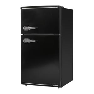 【エスキュービズム S-cubism】2ドア レトロ冷蔵庫 85L ブラック WRD-2090K