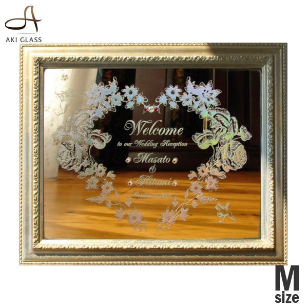 ウェルカムボード ミラー 額 鏡 ウエルカムボード ウェディング ウエディング 手作り 名入れ 結婚式 額 ハート 文字 おしゃれ 受付
