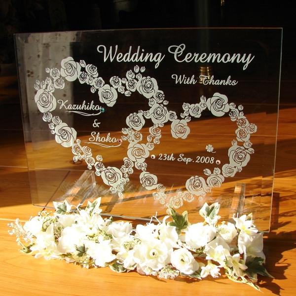 スタンド・装飾花付★ウェルカムボード ウェディング ガラス【クリアガラスが美しい】おしゃれなウェディングに!ブライダル ミニ
