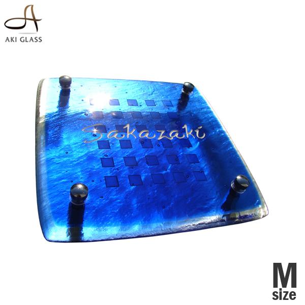表札 戸建 ガラス【サイズ変更可】ブルーガラス表札 ガラス表札 二世帯表札 おしゃれ表札