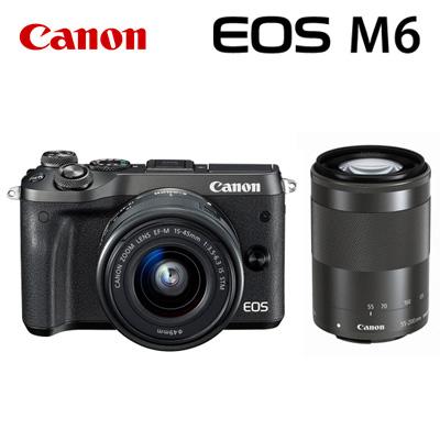CANON ミラーレスカメラ EOS M6・ダブルズームキット ブラック 1724C034 キヤノン EOSM6BK-WZK 【送料無料】【KK9N0D18P】