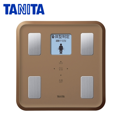 タニタ 体組成計 体重100g単位/体脂肪率/BMI/推定骨量/筋肉量/内臓脂肪レベル/基礎代謝量/体内年齢/体型判定 BC-810-BR ブラウン 【送料無料】【KK9N0D18P】