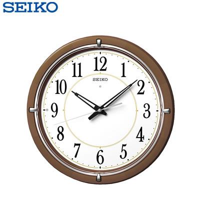 セイコー クロック 掛け時計 自動点灯 電波 アナログ ファインライト NEO 木枠 茶 木地 KX395B SEIKO 【送料無料】【KK9N0D18P】