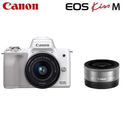 Canon Canon キヤノン ミラーレス一眼カメラ EOS EOS Kiss M M ダブルレンズキット EOSKissM-WLK-WH ホワイト【送料無料】【KK9N0D18P】, 佐井村:0da8cbab --- garagemastertech.ca