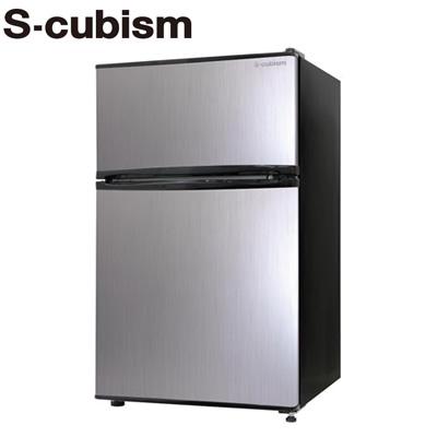 エスキュービズム 90L 冷凍冷蔵庫 2ドア 左右開き対応 RM-90L02SL シルバーヘアライン【送料無料】【KK9N0D18P】