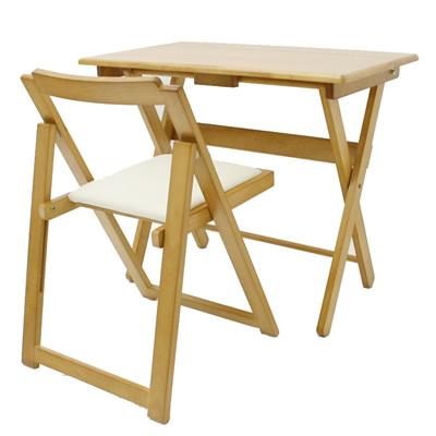 折り畳み式 便利デスク イスセット ナチュラル 40-734 机椅子セット 完成品 ヤマソロ【送料無料】【KK9N0D18P】