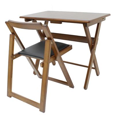 折り畳み式 便利デスク イスセット ブラウン 40-735 机椅子セット 完成品 ヤマソロ【送料無料】【KK9N0D18P】