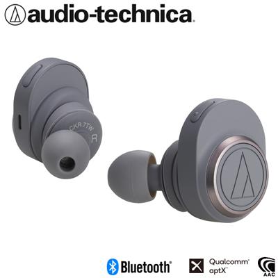 オーディオテクニカ 完全ワイヤレスイヤホン Bluetooth5.0 aptX対応 トゥルーワイヤレス ATH-CKR7TW-GY グレー【送料無料】【KK9N0D18P】
