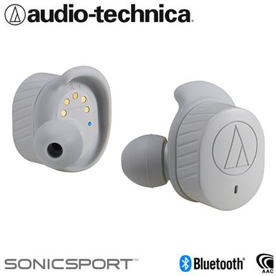 オーディオテクニカ 完全ワイヤレスイヤホン Bluetooth5.0 防水性能IPX5 トゥルーワイヤレス SONICSPORT ATH-SPORT7TW-GY グレー【送料無料】【KK9N0D18P】