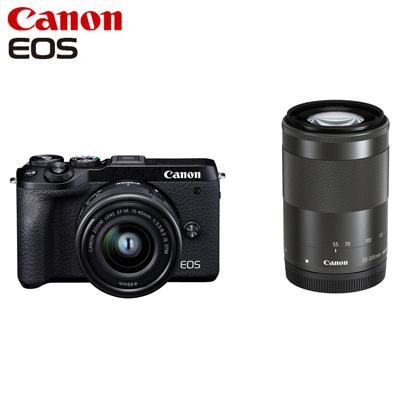 Canon キヤノン ミラーレス一眼カメラ EOS M6 Mark II ダブルズームキット EOSM6MK2BK-WZK ブラック【送料無料】【KK9N0D18P】