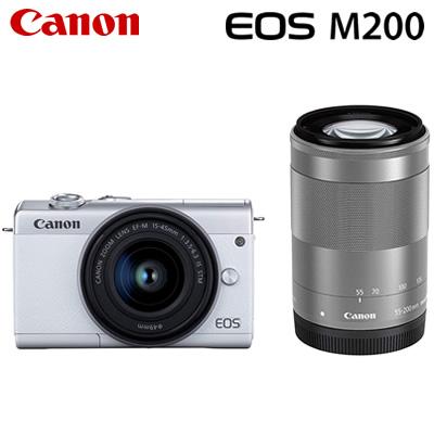 【キャッシュレス5%還元店】キヤノン ミラーレス一眼 EOS M200 ダブルズームキット デジタルカメラ EOSM200WH-WZK ホワイト 3700C016 Canon【送料無料】【KK9N0D18P】