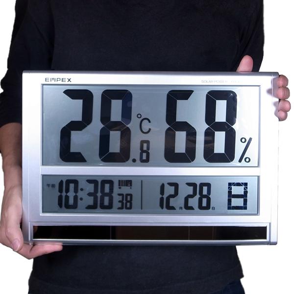 温湿度計 幅40cm 超大型 デジタル温湿度計 時計 TD-8170 エンペックス 壁掛/卓上 送料無料