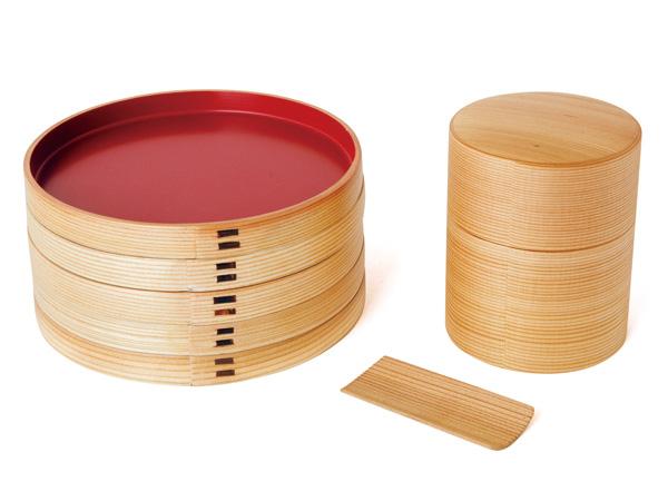 大館曲げわっぱ 茶筒(100g)銘々皿セット