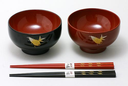 川連漆器 夫婦汁椀・箸セット 竹の子 沈金
