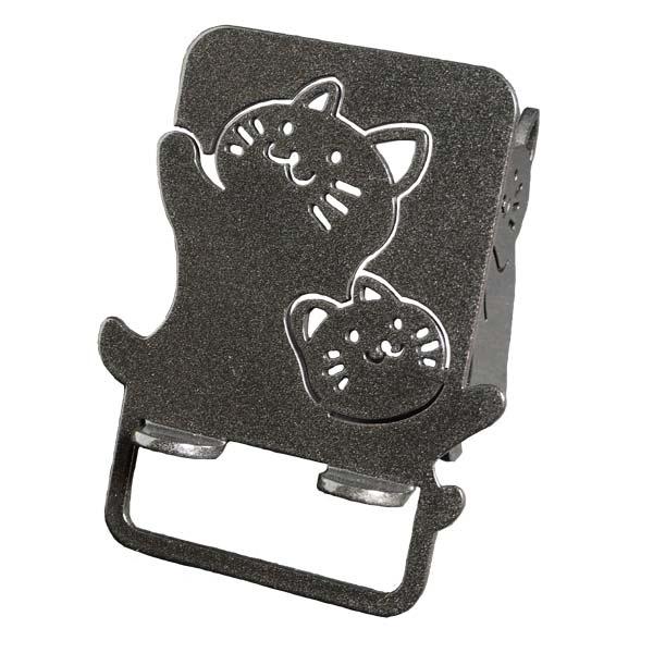 【スマホスタンド】【送料無料】 スマートフォン アイフォン アンドロイド 猫 かわいい キャラねこ(ワンピースタイプ)のおやこのネコちゃんがスマホ・iPhoneを支えます。鉄製で安定感があり、アイパッドも大丈夫!