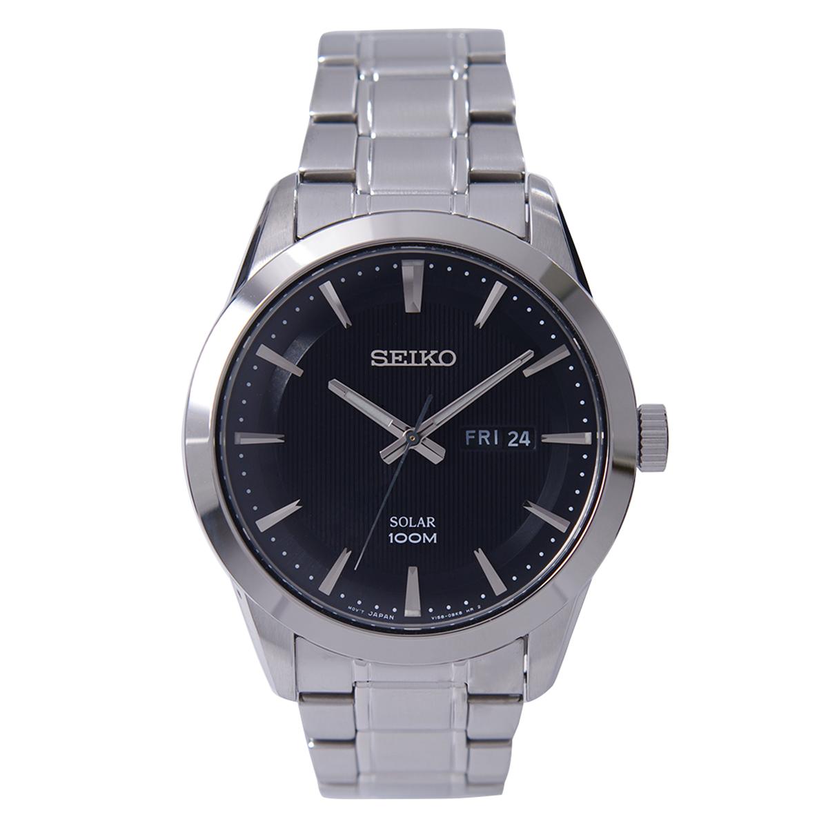 セイコー SEIKO 腕時計 ソーラー 100M防水 直営限定アウトレット SNE363P1 逆輸入品 直輸入品激安 メンズ ブラック文字盤