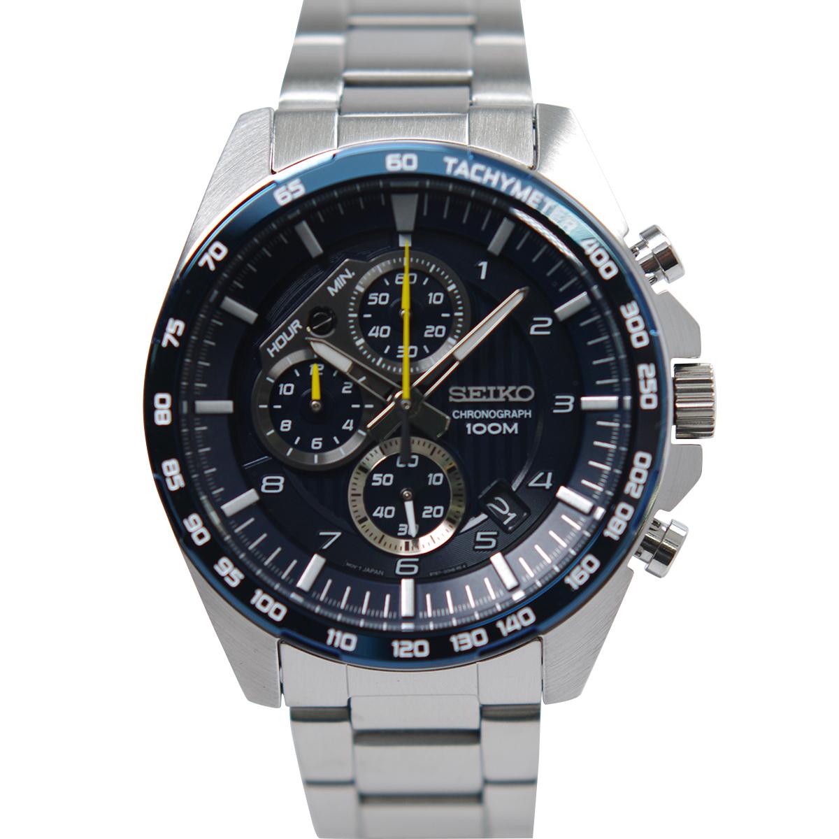 入荷中 セイコー SEIKO 腕時計 クオーツ クロノグラフ 100M防水 ネイビー文字盤 SSB321P1 メンズ [逆輸入品]ssb321p1, ベクトル 新都リユース f1266b7a
