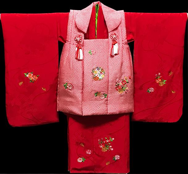 七五三 着物 3歳 女の子 着物 被布セット 正絹 新品73j282