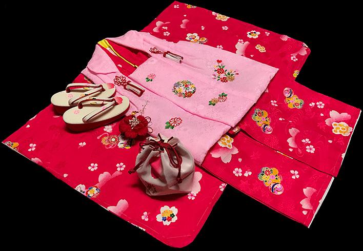七五三 着物 3歳 女の子 着物 被布セット 正絹 新品73j300