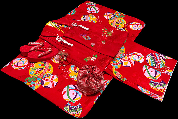 七五三 モダン 着物 3歳 正絹 被布セット 新品73j81b