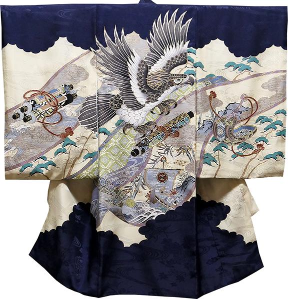 お宮参り 男の子 着物 男児祝着 正絹のしめ 初着 産着 新品d1902