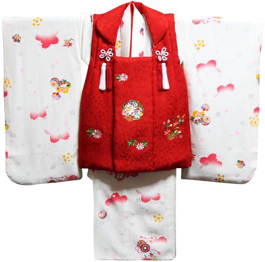 七五三 着物 3歳 女の子 着物 被布セット 正絹 新品73j298