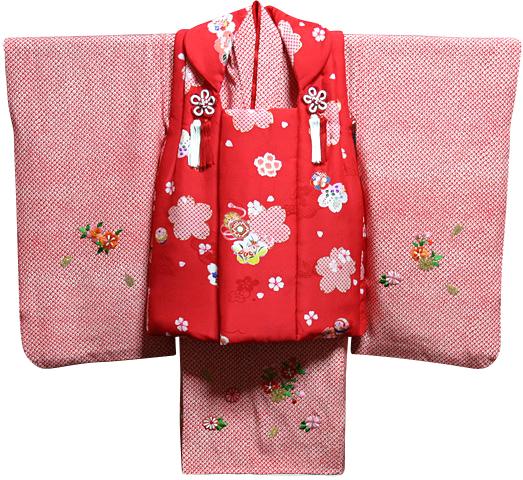 七五三 着物 3歳 女の子 着物 被布セット 新品73j302