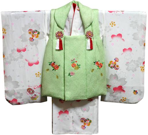 七五三着物 女児三歳用セット 正絹 新品73j349