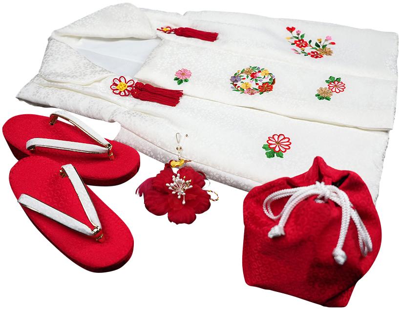 七五三着物 女児三歳用被布セット正絹 初節句 新品ht202