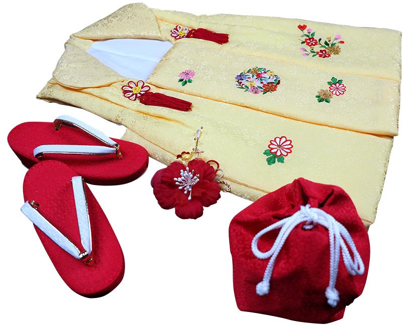 七五三着物 女児三歳用被布セット正絹 初節句 新品ht304
