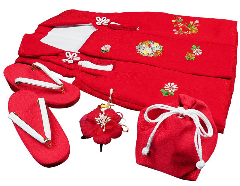 七五三着物 女児三歳用被布セット正絹 初節句 新品ht306
