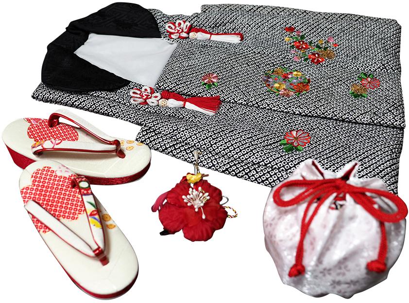 七五三着物 女児三歳用被布セット正絹 初節句 新品ht322