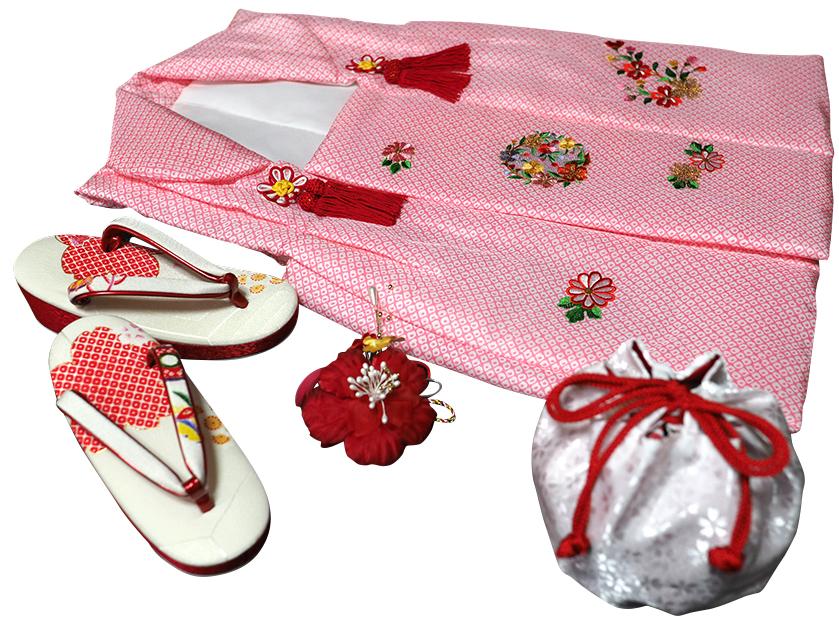 七五三着物 女児三歳用被布セット正絹 初節句 新品ht601