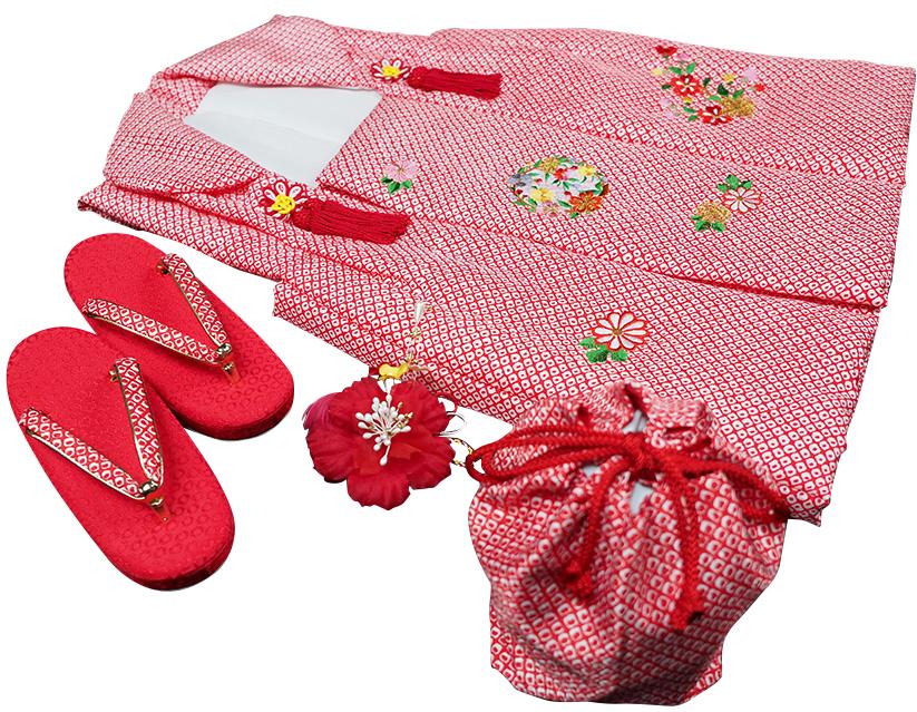 七五三着物 女児三歳用被布セット正絹 新品ht602